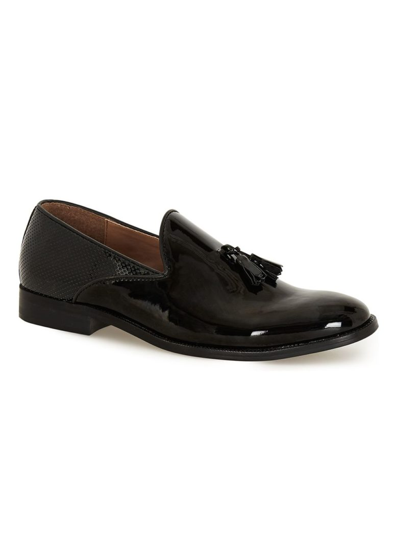 Black Patent Tassel Loafers from Topman