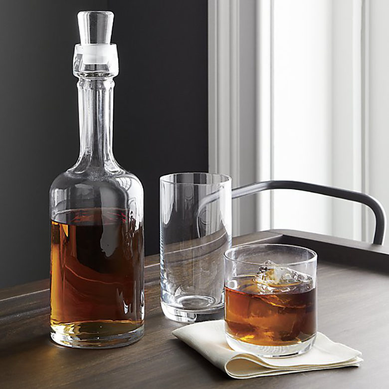 Crescent Drinkware: decanter, high ball glass, old fashioned glass