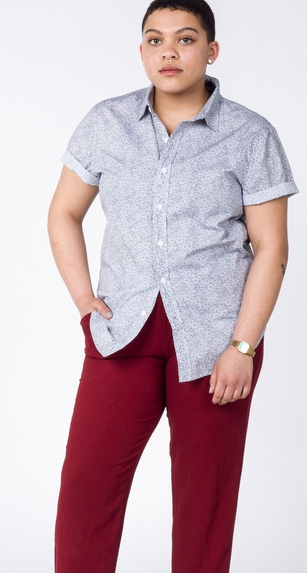 Masculine of center queer POC in Daisy Button Up and maroon pants