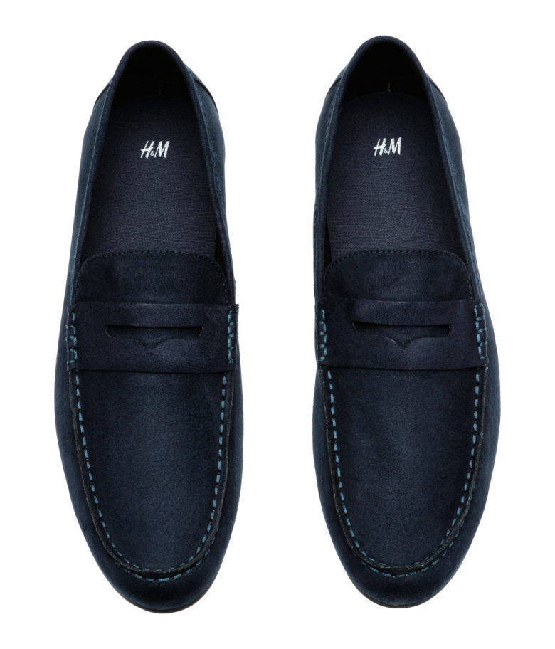 Shoes: dark blue loafers from H&M