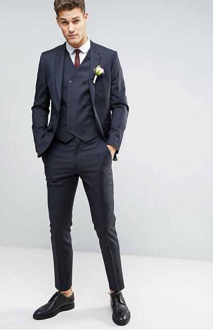 ASOS slim navy suit with double-breasted vest