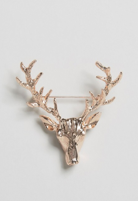 DesignB London Stag Lapel Pin In Rose Gold from ASOS