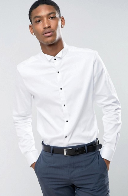ASOS Slim Sateen Shirt with Wing Collar And Contrast Buttons