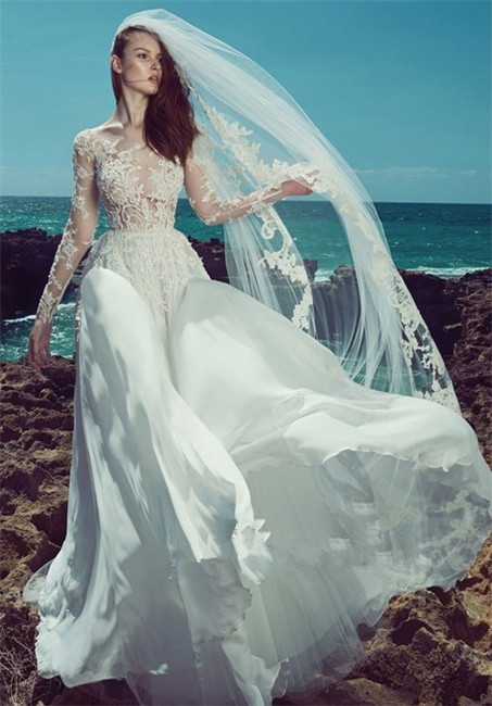 Hollow lace wedding dress-1