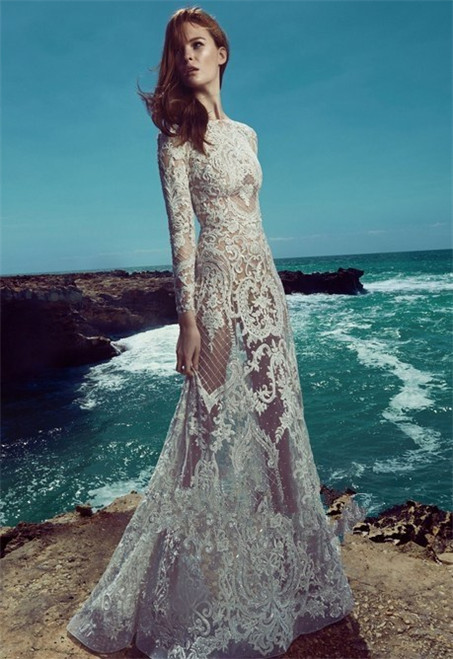 Hollow lace wedding dress-2