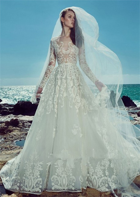 Hollow lace wedding dress-3