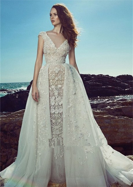 Hollow lace wedding dress-4