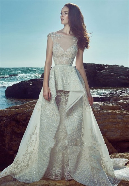 Hollow lace wedding dress-6