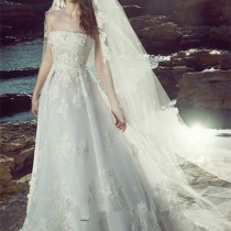 Hollow lace wedding dress-7
