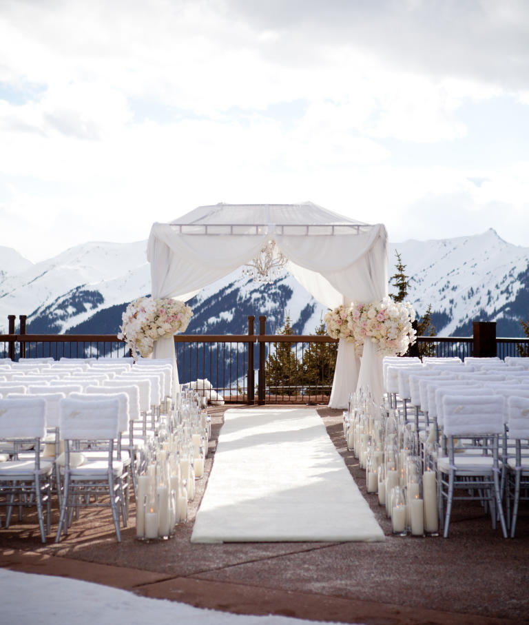 A Cozy Mountaintop Ceremony With Faux-Fur Accents