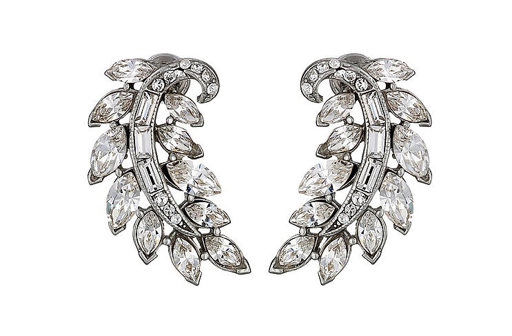 Ben-Amun Crystal Feather stud earrings