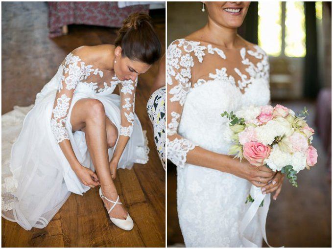 bride put on her shoe