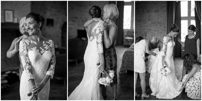 bride and her mother hug each other