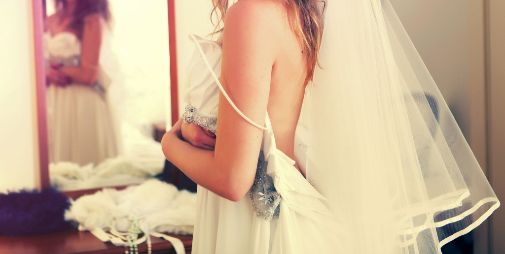 a bride with wedding dress