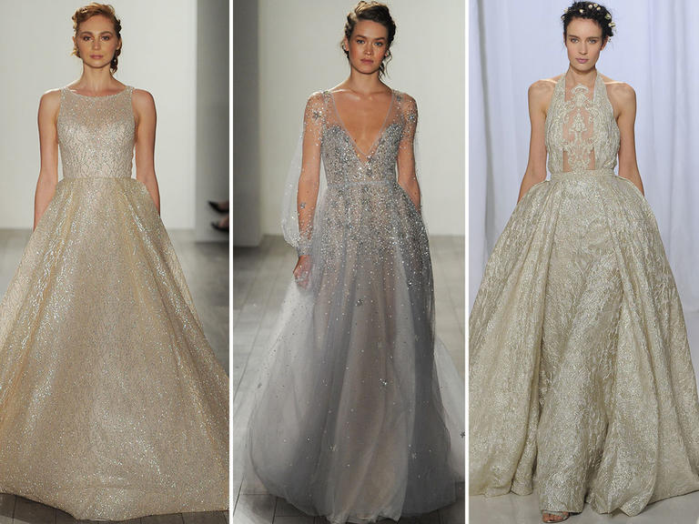 metallic wedding gowns
