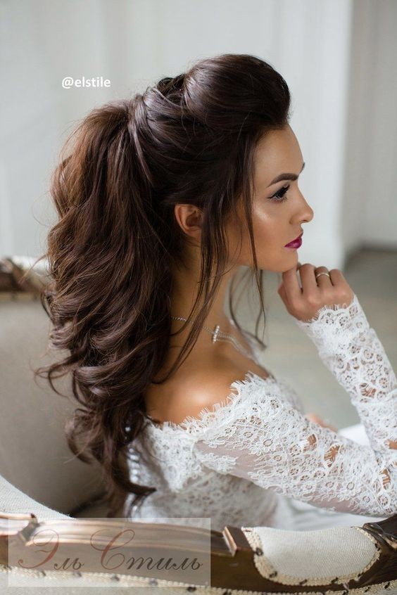 Glossy Brown Quiff with Waved Hair