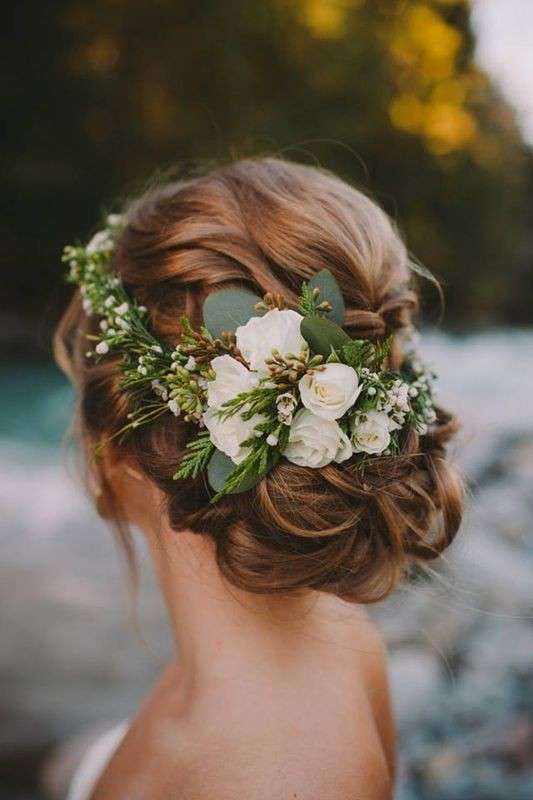 Floral Curly Bun Updo Hairstyle